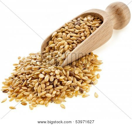 Flax seeds, Linseed, Lin seeds close-up  in wooden scoop isolated on white background