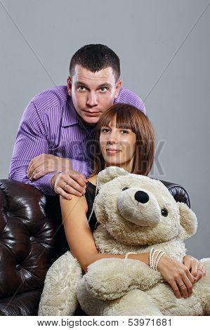 Boy, Girl And Teddy Bear