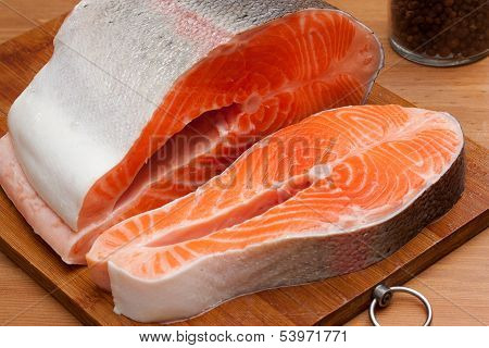 Raw salmon on wood table