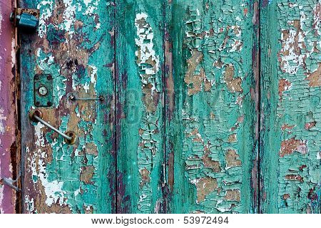 Green Cracky Grunge Door