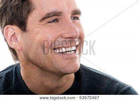 one caucasian man mature handsome man close up portrait studio  white background