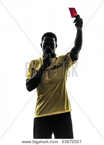 one african man referee showing red card  in silhouette  on white background