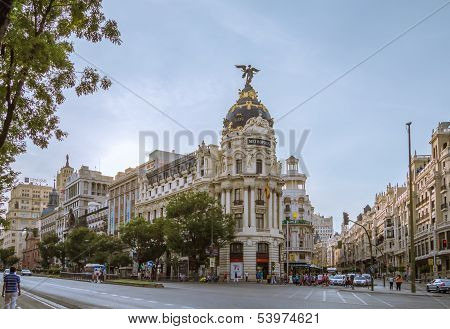 Metropolis building in Gran Via street, in Madrid