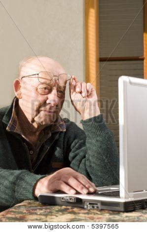 Senior Man And Laptop