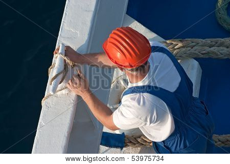 Seaman Working On A Cruise Ship.