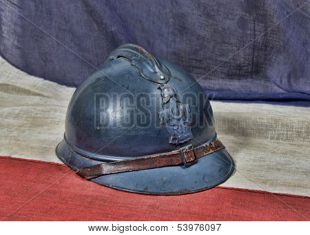 French Ww 1 Helmet On The Antique French Flag