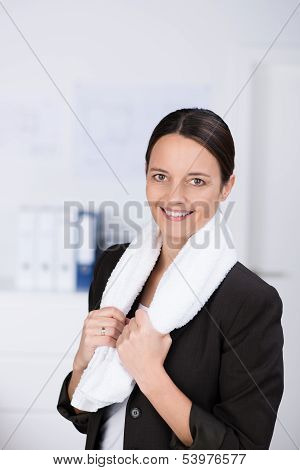 Healthy Businesswoman Taking An Exercise Break