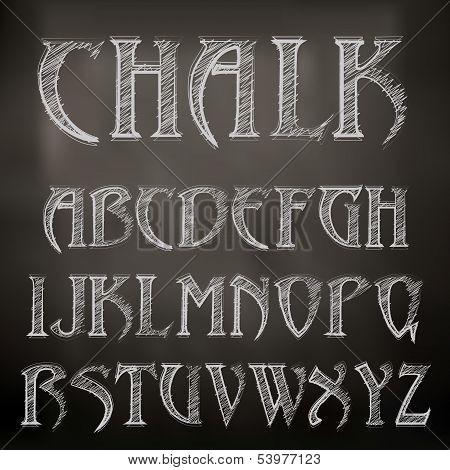 Vector Sketched Chalky Alphabet On Blackboard