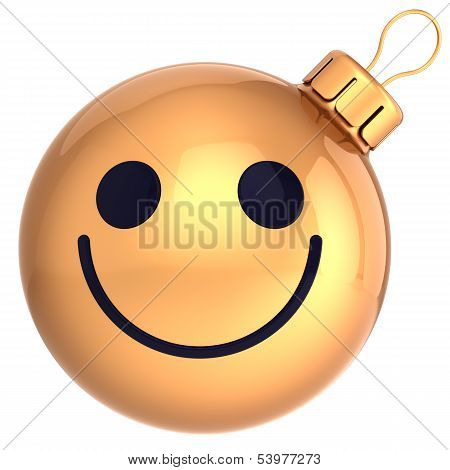 Christmas ball smiley face gold Happy New Year bauble