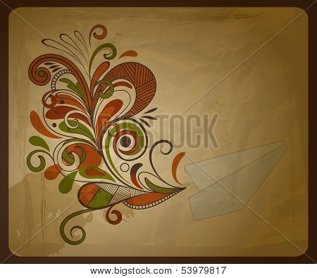 Vector Eco  Concept Composition With A Paper Plane And  And Floral Pattern