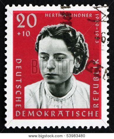 Postage Stamp Gdr 1961 Hertha Lindner, Resistance Fighter