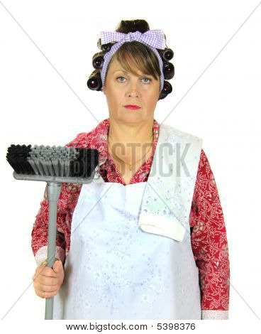 Frumpy Housewife With Broom
