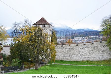 Luzern City Wall With Medieval Tower
