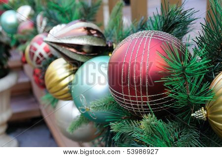 Close up of Christmas ornaments decoration