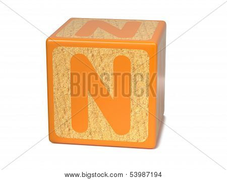 Letter N on Childrens Alphabet Block.