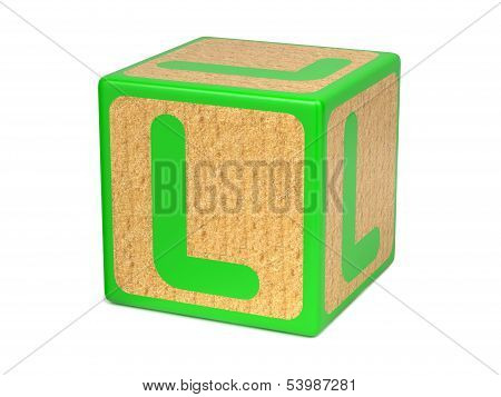 Letter L on Childrens Alphabet Block.
