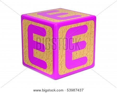 Letter E on Childrens Alphabet Block.
