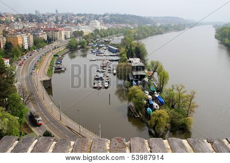 Prague, The Embankment Of The Vltava River.