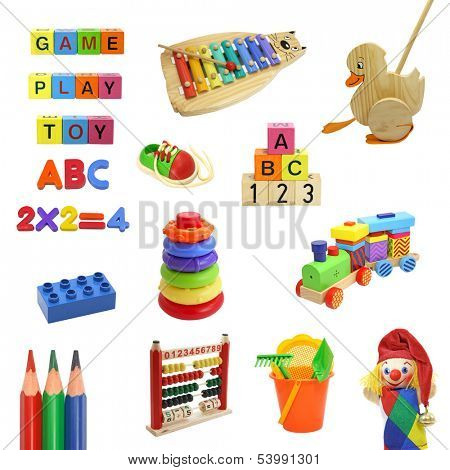 toys collection isolated on white background,cut out,shadeless
