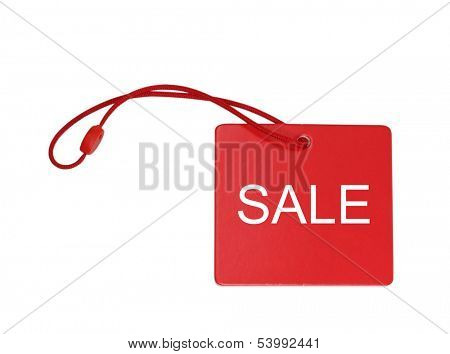 A red tag isolated on white background