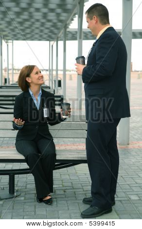 Discussing Business Outdoor