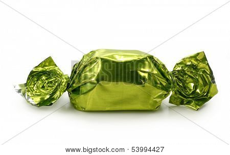 Chocolate  praline in foil isolated on white background
