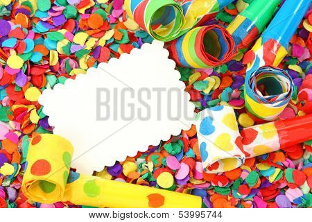 Blank note on colorful confetti