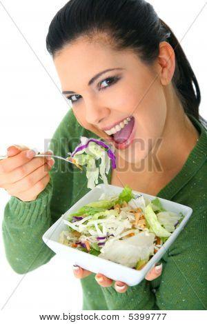 Enjoying Healthy Salad