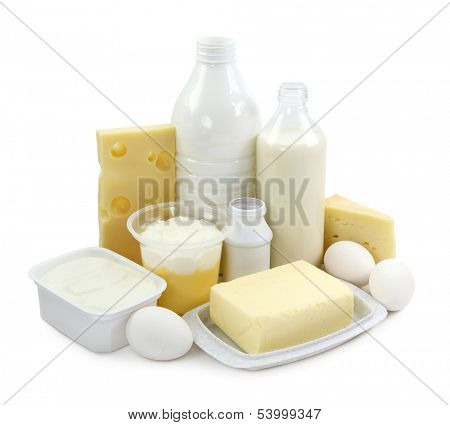 Dairy products and eggs isolated on white background