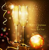 picture of sparkling wine  - Christmas holiday background with two glasses of champagne - JPG