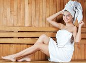stock photo of sauna woman  - Spa  - JPG