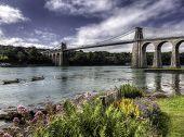 foto of anglesey  - The Thomas Telford bridge over the Menai Straits - JPG