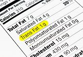 stock photo of carbohydrate  - Nutrition label highlighting the unhealthy trans fats - JPG