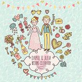 stock photo of cupid  - Wedding vector card in vintage style - JPG