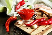 picture of cayenne pepper  - Composition with salsa sauce on bread - JPG