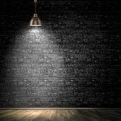 picture of loneliness  - Background image of dark wall with lamp above - JPG