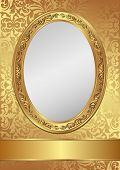 image of oval  - vintage golden background decorativel frame   - JPG