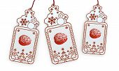 Isolated Christmas Labels With Brain Sticker