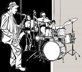 image of double-bass  - Vector illustration of a Jazz band - JPG