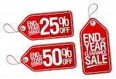 foto of year end sale  - End of year sale savings labels set - JPG