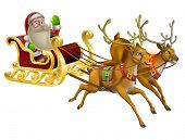 stock photo of sleigh ride  - A Santa Claus Christmas Sleigh illustration with Santa Claus riding in his Christmas sleigh - JPG