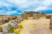 Funerary Towers And Ruins In Sillustani, Peru,south America- Inca Prehistoric Ruins Near Puno,titica