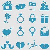 stock photo of ring-dove  - Love icons set - JPG
