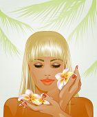 pic of frangipani  - attractive blond woman with frangipani flowers  - JPG