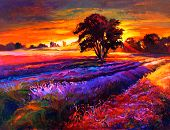 foto of farm landscape  - Original oil painting of lavender fields on canvas - JPG