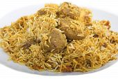stock photo of biryani  - Lamb biryani with spicy rice served with potatoes - JPG