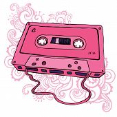 foto of magnetic tape  - Pink Audio cassette - JPG