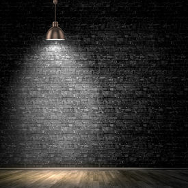 picture of lamp shade  - Background image of dark wall with lamp above - JPG