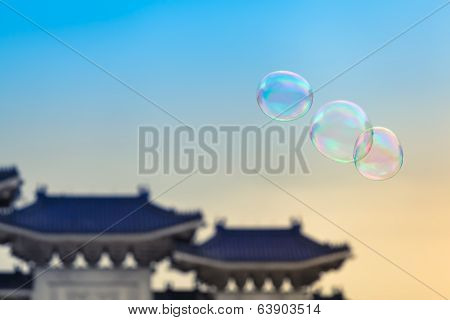 Colorful Soap Bubbles at the Taiwan Sky