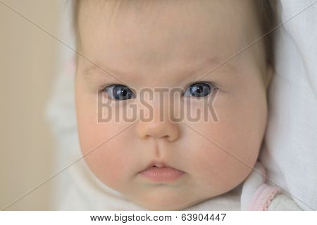 Newborn Baby Looking Serious
